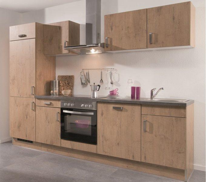 Compacte Keuken In Kast : Rechte keuken Vintage/Rustiek eik 21-4030