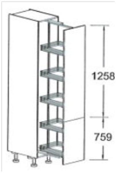 Apothekerskast Keuken 30 Cm : Hoge apothekerskast 202.9 cm met swingbeslag, gekoppelde deur. RMSAZS