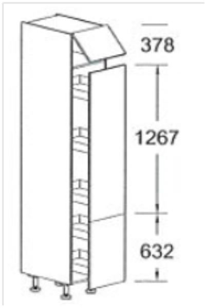 Apothekerskast Keuken 30 Cm : Hoge apothekerskast 228.3 cm met gekoppelde deur. excl. plinthoogte
